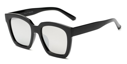 Angle of Foley #2884 in Black Frame with Silver Mirrored Lenses, Women's Square Sunglasses