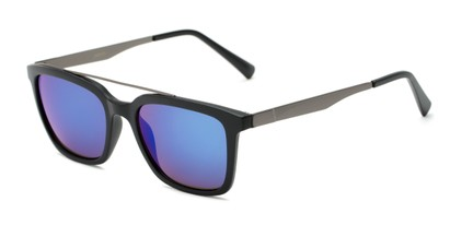 Angle of Clay #28850 in Matte Black Frame with Blue/Purple Mirrored Lenses, Women's and Men's Retro Square Sunglasses