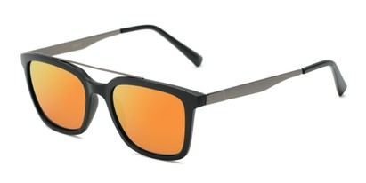 Angle of Clay #28850 in Matte Black Frame with Orange/Yellow Mirrored Lenses, Women's and Men's Retro Square Sunglasses