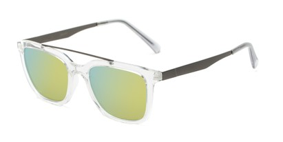 Angle of Clay #28850 in Clear Frame with Yellow/Blue Mirrored Lenses, Women's and Men's Retro Square Sunglasses