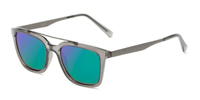 Angle of Clay #28850 in Clear Grey Frame with Green/Purple Lenses, Women's and Men's Retro Square Sunglasses