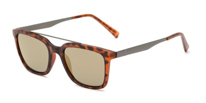 Angle of Clay #28850 in Matte Tortoise Frame with Gold Mirrored Lenses, Women's and Men's Retro Square Sunglasses