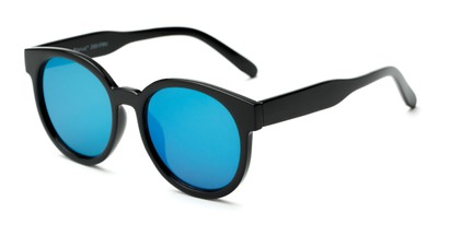 Angle of Weber #2891 in Black Frame with Blue Mirrored Lenses, Women's Round Sunglasses