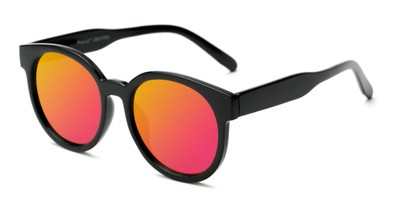 Angle of Weber #2891 in Black Frame with Pink/Yellow Mirrored Lenses, Women's Round Sunglasses