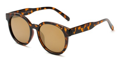 Angle of Weber #2891 in Tortoise Frame with Gold Mirrored Lenses, Women's Round Sunglasses