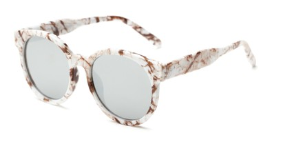 Angle of Weber #2891 in White Marbled Frame with Silver Mirrored Lenses, Women's Round Sunglasses