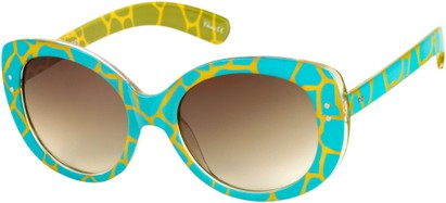 Angle of SW Oversized Giraffe Print Style #1906 in Blue Frame with Amber Lenses, Women's and Men's