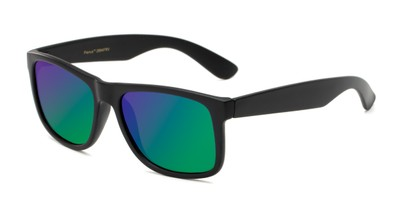 Angle of Walker #2894 in Matte Black Frame with Green/Purple Mirrored Lenses, Women's and Men's Retro Square Sunglasses