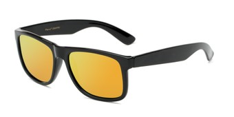 Angle of Walker #2894 in Glossy Black Frame with Orange Mirrored Lenses, Women's and Men's Retro Square Sunglasses