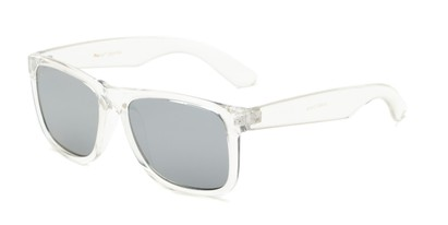 Angle of Walker #2894 in Clear Frame with Silver Mirrored Lenses, Women's and Men's Retro Square Sunglasses