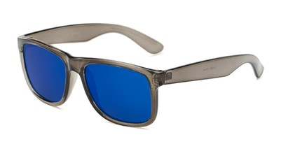 Angle of Walker #2894 in Clear Grey Frame with Blue Mirrored Lenses, Women's and Men's Retro Square Sunglasses