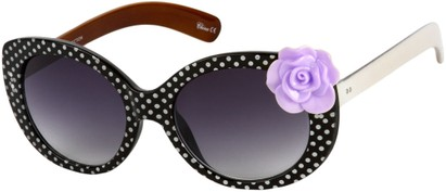 Angle of SW Polka Dot Style #865 in Black Frame/Purple Flower with Smoke Lenses, Women's and Men's