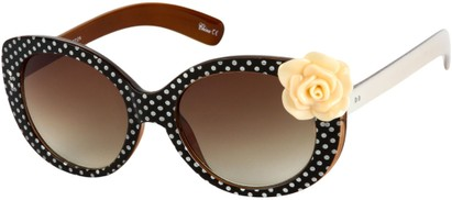 Angle of SW Polka Dot Style #865 in Black Frame/Peach Flower with Amber Lenses, Women's and Men's