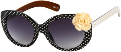 Angle of SW Polka Dot Style #865 in Black Frame/Peach Flower with Smoke Lenses, Women's and Men's