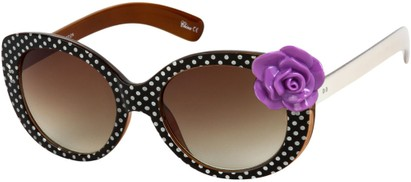 Angle of SW Polka Dot Style #865 in Black Frame/Purple Flower with Amber Lenses, Women's and Men's