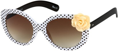 Angle of SW Polka Dot Style #865 in White Frame/Peach Flower with Amber Lenses, Women's and Men's
