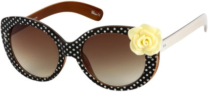 Angle of SW Polka Dot Style #865 in Black Frame/Yellow Flower with Amber Lenses, Women's and Men's