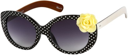 Angle of SW Polka Dot Style #865 in Black Frame/Yellow Flower with Smoke Lenses, Women's and Men's