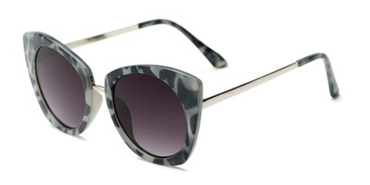 Angle of Vivian #2895 in Glossy Grey Tortoise/Silver Frame with Smoke Lenses, Women's Cat Eye Sunglasses