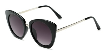 Angle of Vivian #2895 in Glossy Black/Silver Frame with Smoke Lenses, Women's Cat Eye Sunglasses