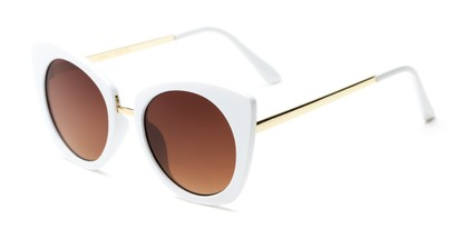 Angle of Vivian #2895 in Glossy White/Gold Frame with Amber Lenses, Women's Cat Eye Sunglasses