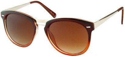 Angle of Aurora #1134 in Brown and Orange Fade, Women's and Men's Round Sunglasses
