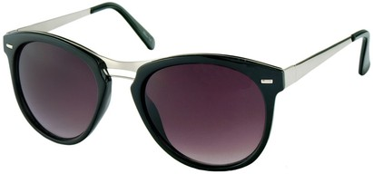 Angle of Aurora #1134 in Black, Women's and Men's Round Sunglasses