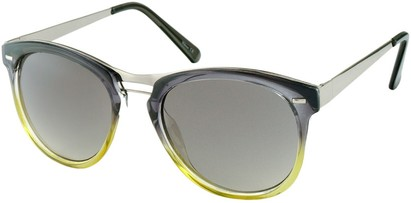 Angle of Aurora #1134 in Grey and Green Fade, Women's and Men's Round Sunglasses