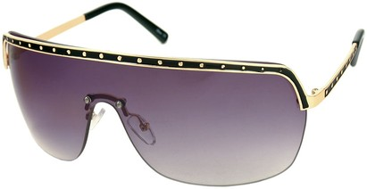 Angle of SW Shield Style #226 in Black and Gold Frame with Smoke Lenses, Women's and Men's