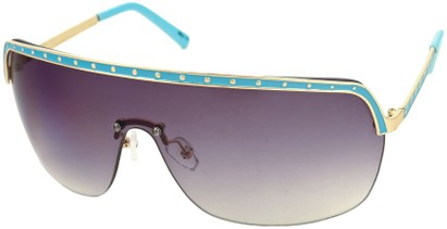 Angle of SW Shield Style #226 in Blue and Gold Frame with Smoke Lenses, Women's and Men's