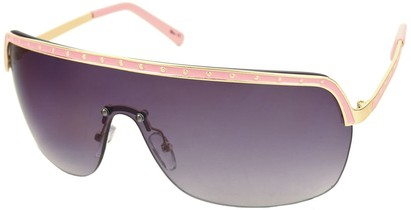 Angle of SW Shield Style #226 in Pink and Gold Frame with Smoke Lenses, Women's and Men's