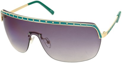 Angle of SW Shield Style #226 in Green and Gold Frame with Smoke Lenses, Women's and Men's