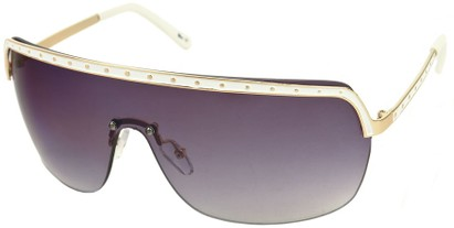 Angle of SW Shield Style #226 in White and Gold Frame with Smoke Lenses, Women's and Men's