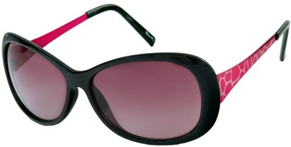 Angle of Ember #450 in Black and Pink Frame, Women's Round Sunglasses