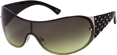 Angle of SW Rhinestone Shield Style #492 in Black/Silver Frame with Green Lenses, Women's and Men's
