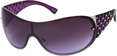 Angle of SW Rhinestone Shield Style #492 in Purple/Silver Frame with Purple Lenses, Women's and Men's