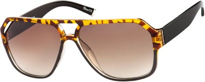 Angle of Santiago #9986 in Tortoise/Black Fade Frame with Amber Lenses, Women's and Men's Aviator Sunglasses
