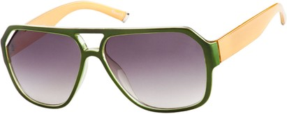 Angle of Santiago #9986 in Green/Yellow Frame with Smoke Lenses, Women's and Men's Aviator Sunglasses