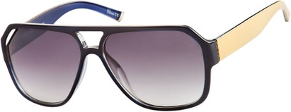Angle of Santiago #9986 in Blue/Yellow Frame with Smoke Lenses, Women's and Men's Aviator Sunglasses