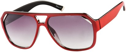 Angle of Venezuela #9989 in Red Frame with Smoke Lenses, Women's and Men's Aviator Sunglasses