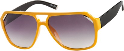 Angle of Venezuela #9989 in Yellow Frame with Smoke Lenses, Women's and Men's Aviator Sunglasses