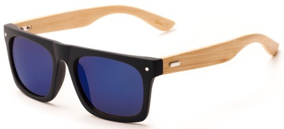 Angle of Tonga #2984 in Matte Black Frame with Purple Mirrored Lenses, Men's Retro Square Sunglasses