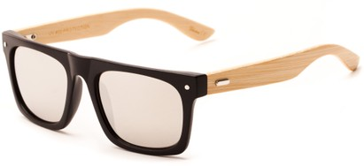 Angle of Tonga #2984 in Matte Black Frame with Silver Mirrored Lenses, Men's Retro Square Sunglasses