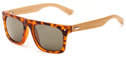 Angle of Tonga #2984 in Matte Tortoise Frame with Grey Lenses, Men's Retro Square Sunglasses