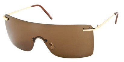 Angle of SW Rimless Shield Style #1826 in Gold Frame with Copper Lenses, Women's and Men's