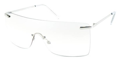 Angle of SW Rimless Shield Style #1826 in Silver Frame with Clear Lenses, Women's and Men's