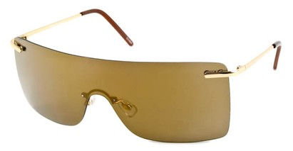 Angle of SW Rimless Shield Style #1826 in Gold Frame with Mirrored Amber Lenses, Women's and Men's