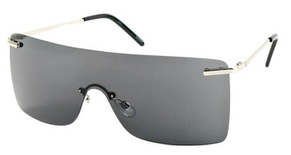 Angle of SW Rimless Shield Style #1826 in Silver Frame with Blue Lenses, Women's and Men's
