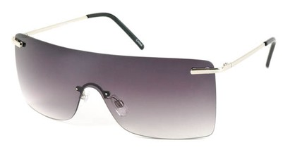 Angle of SW Rimless Shield Style #1826 in Silver Frame with Smoke Lenses, Women's and Men's