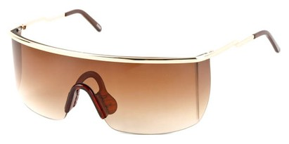 Angle of SW Shield Style #1715 in Gold Frame with Amber Lenses, Women's and Men's
